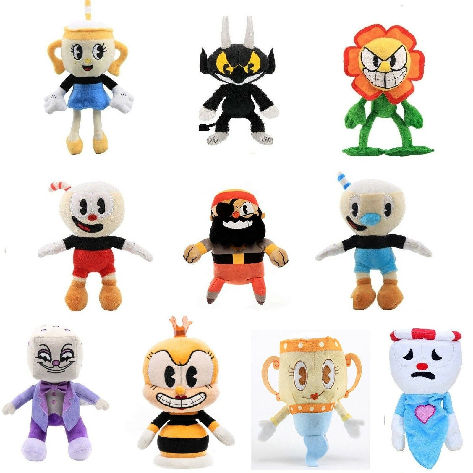 Cuphead & Mugman Ghost Chalice Legendary Dice Plush Figure Doll Toy Christmas
