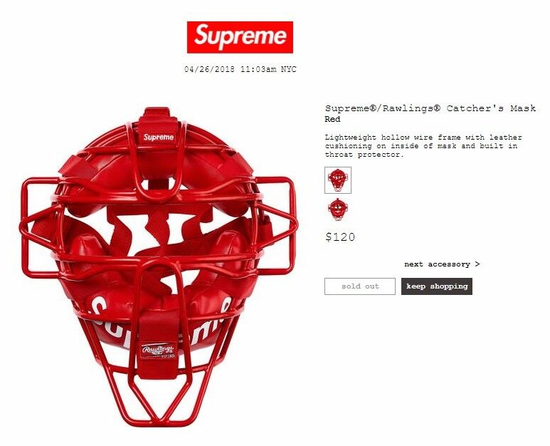 Supreme Rawlings SS18 Catchers Mask IN HAND