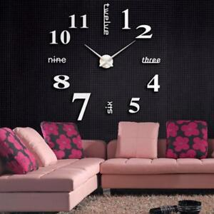 NEUF-acrylique-moderne-3D-DIY-Grand-Horloge-murale-Surface-Autocollant