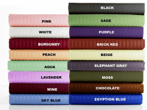 Best Egyptian Cotton 1000 TC Queen Size Select Bedding Items All Stripe colors '