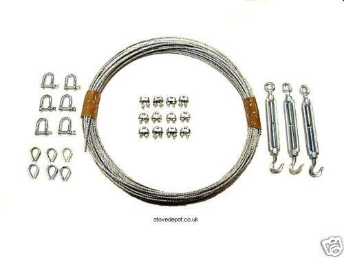 Guy wire kit for flue pipe cowl stove pipe
