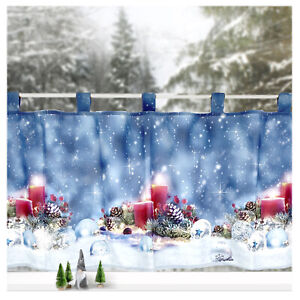 Scheibengardine Weihnachten Deko Gardine Kerzen Fensterbild Dekoration Typ651