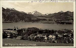 Tegernsee Bayern Postkarte 1930 Blick über den See mit Hirschberg und Kampen