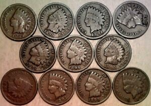 1889-1899-INDIAN-HEAD-CENTS-Complete-Collection-11-Coin-Lot-Partial-Roll