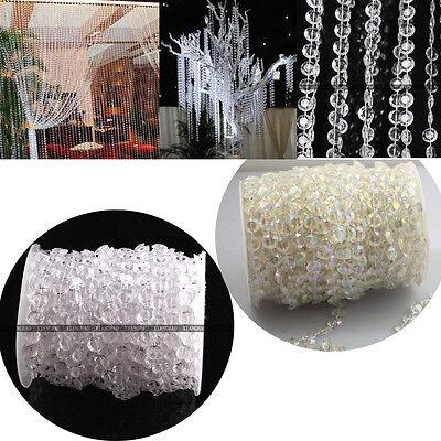 99FT Wedding DIY Garland Diamond Acrylic Crystal Beads Strand Party Decor