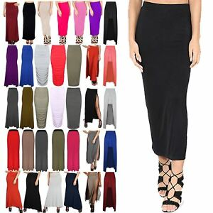 Ladies Plain Office Womens Stretch Bodycon Midi Pencil Skirt Plus Size 8-26