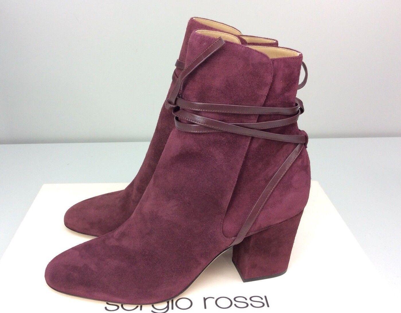 Sergio Rossi Tea Dark Cherry Royal Nappa Nappa Nappa Boots Bootie EU 40 US 10 Chunky Heel 53d4d5