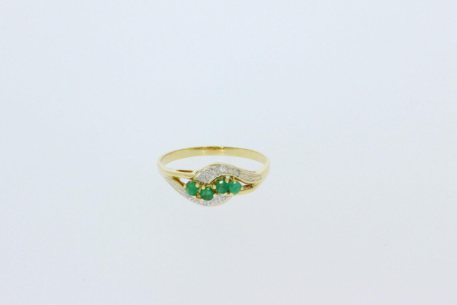 6250-585er yellowgoldring mit Zirkonia+Smaragd Ringgroße 61,5 Kopfbreite 8,4 mm