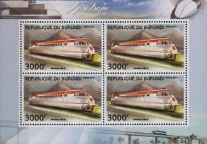 Aerotrain I80-250 Hv (hovertrain) Experimental Train Stamp Sheet (2012 Burundi)-afficher Le Titre D'origine
