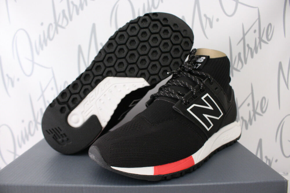 NEW BALANCE BLACK 247 MID SZ 8 BLACK BALANCE WHITE RED KNIT TRAINERS REVLITE MRL247OF 527b52