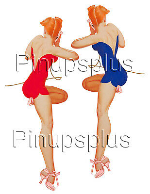 Blue /& Red WWII Memphis Belle B-17 Pinup Girl Waterslide Decal Sticker #303