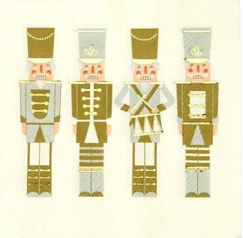 Decoupage oro soldados de estaño 25cm X 25cm 6 Vintage Cóctel Servilletas papel