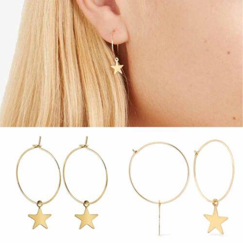 1Pair Boho Gold Plated Hoop Big Circle Star Dangle Drop Stud Earrings For Women