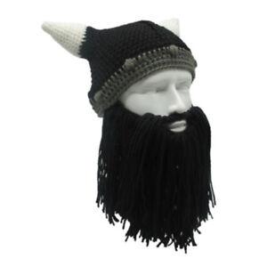0f42d709331 Men Head Beard Hat Cool Barbarian Vagabond Beanie Viking Horns Knit ...