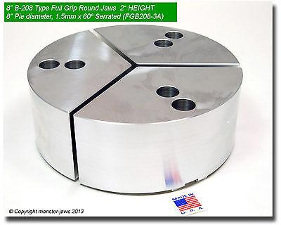"8"" Full Grip Round Jaws Aluminum for B-208 Lathe Chucks (3"" HT, 8"" Pie Diameter)"