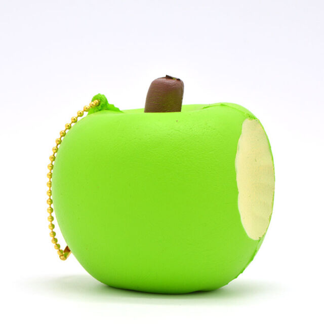 8CM Bitten Apple Squishy Slow Rising Ballchains Toy Scented Strap Charms Press