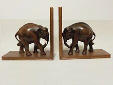 Book Ends Elephant Vintage Wood Rosewood made in India Bookends Pair Wooden