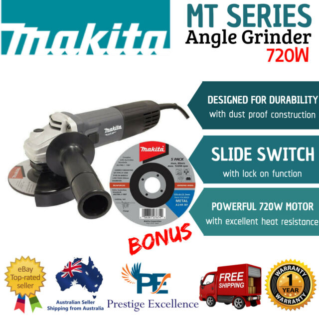 New Makita 5 Inch Angle Grinder 125mm MT Series 720W Corded Anti Dust - M9508G