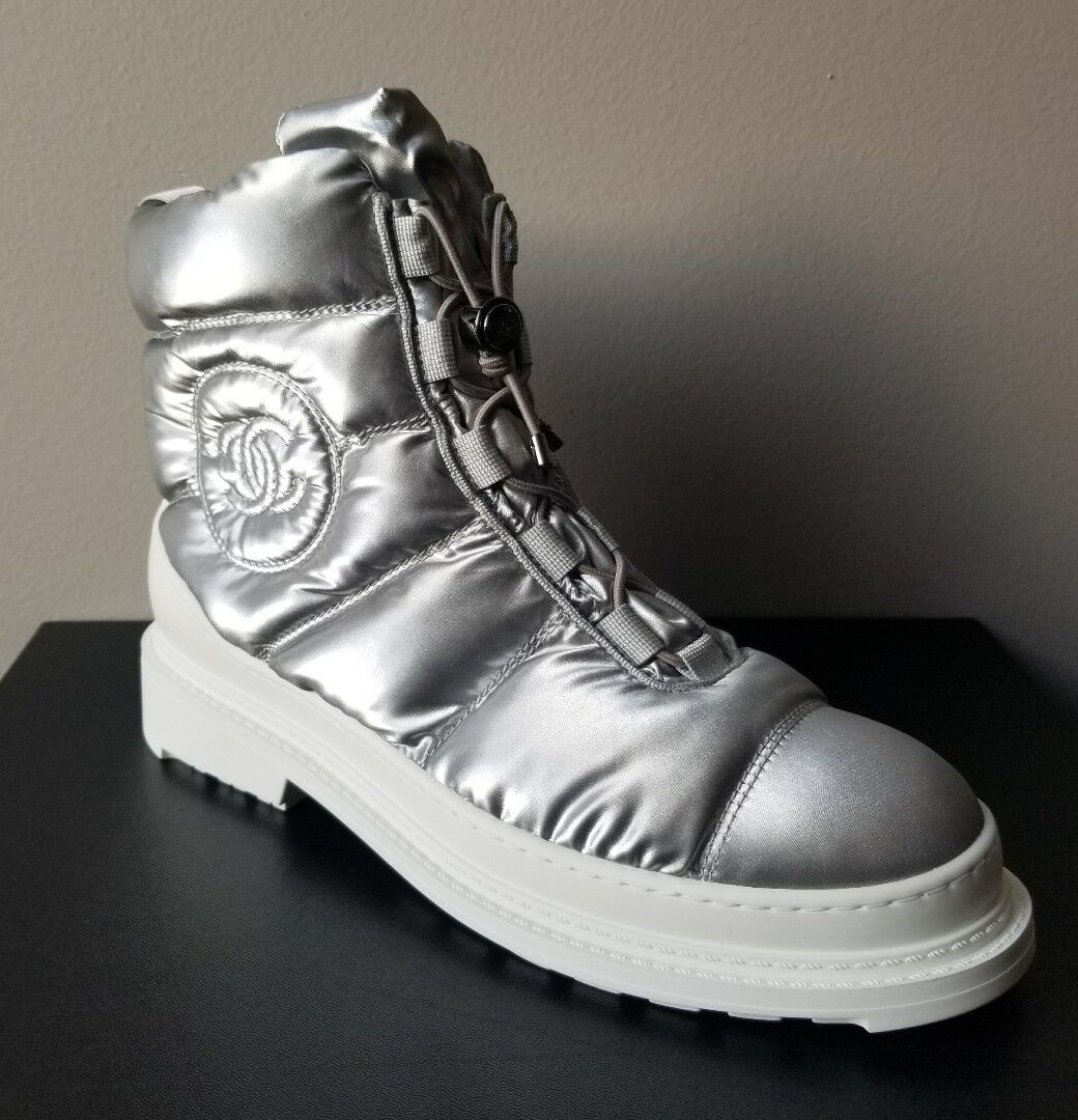 CHANEL ICONIC SKI ICE WALKING SPIKES LOGO BOOTS LOVE SHOES