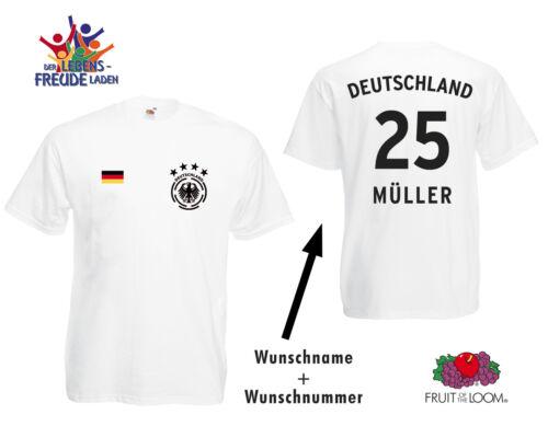 Wunschnummer Wunschname Deutschland Fussball T-Shirt 4 Sterne Wappen