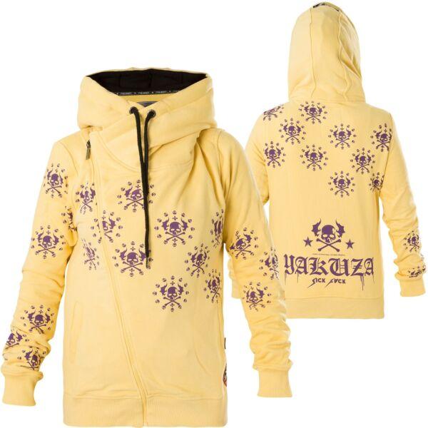 YAKUZA Damen Dot Crosswise Zip Hoodie GHZB-13116 Pale Banana Gelb Jacken