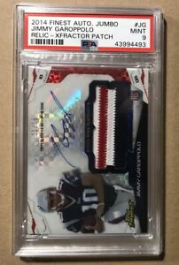 2014-JIMMY-GAROPPOLO-FINEST-ROOKIE-RC-AUTOGRAPH-XFRACTOR-RELIC-PATCH-15-PSA-9