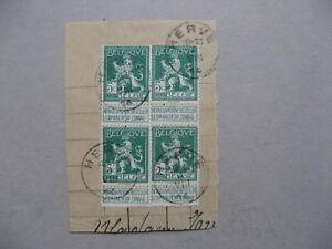 BELGIUM-4x-lion-5c-on-paper-canc-Herve-04-08-1914-day-of-German-Invasion