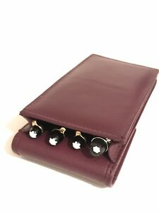 Pens & Writing Instruments Real Leather Hand Made Fashionable And Attractive Packages Useful Burgundy Triple/quadruple Magnetic Pen Case/pouch