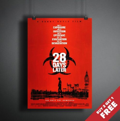 CLASSIC HORROR THRILLER FILM PRINT 28 DAYS LATER 2002 MOVIE POSTER A3 A4