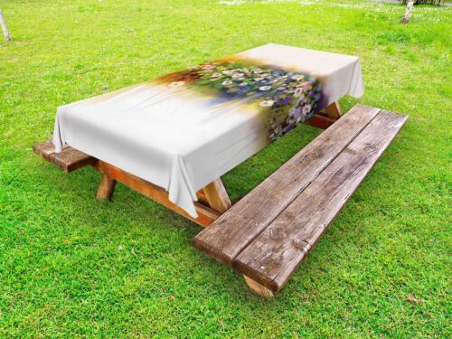 Spring Floral Outdoor Picnic Tablecloth in 3 Sizes Washable Waterproof