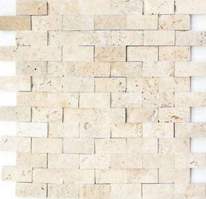 Natursteinmosaik beige Fliesenspiegel Küche Wand Bad WC 43-46248 ...