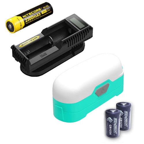 Nitecore LR30 Camping Lantern Teal w  NL183, UM10 Charger, & 2x CR123A Batteries