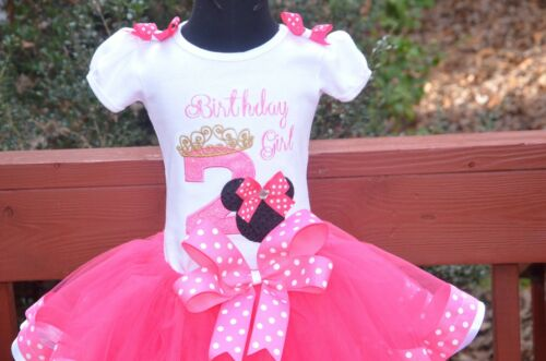 4T Minnie Mouse Birthday Girl Pink White Polka Dot Birthday Outfit dress set 6m