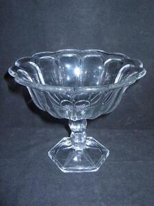 Antique EAPG Thick Heavy Glass Large Compote 12 Sided LARGE - AMAZING!!
