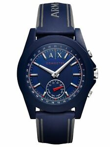 d037e3cd4650 Image is loading A-X-Armani-Exchange-Connected-Men-s-Blue-Silicone-