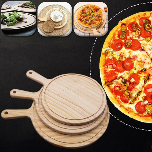 Round Circular Wooden Chopping Board Cutting Serving Pizza Wood Tray LD