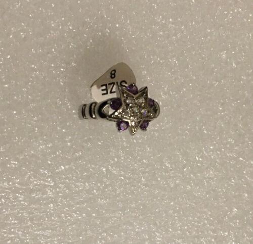 Purple Amethyst Zircon 10KT White Gold Filled Jewellery Size 8