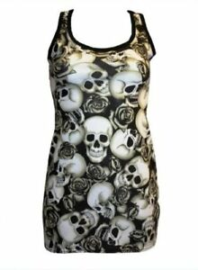 BLACK-amp-WHITE-SKULLS-ROSES-SHADED-TATTOO-PRINT-LONG-VEST-TANK-TOP-GOTH-PUNK-EMO