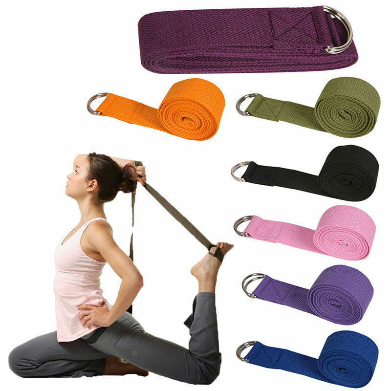 Yoga Belts Adjustable Sport Stretch Strap D-ring Belts Gym Waist Leg Cotton Stretch Belt Yoga Exercise Gym Rope Resistance Fitness Bands Yoga