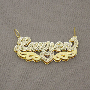 Solid 10k gold 3d double plates personalized name pendant heart 2 image is loading solid 10k gold 3d double plates personalized name aloadofball Images