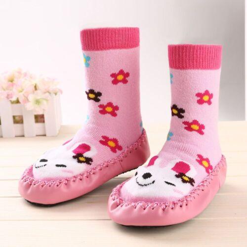 Unisex Anti-slip Baby Child Rubber Cotton Thick Slipper Floor Socks Shoes Boots