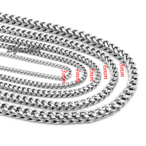 Silver 3//4//5//6//8mm Stainless Steel Curb Wheat Braided Chain Necklace 18-36 inch