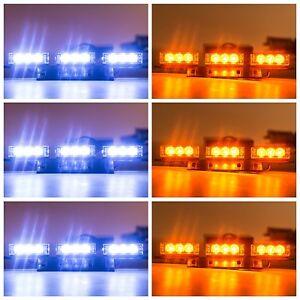 54-LED-White-Amber-Car-Vehicle-Grille-Strobe-Flashing-Warning-Lights-for-Front