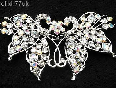 """3"""" SILVER BUTTERFLY FLOWER PEACOCK BROOCH DIAMANTE CRYSTAL WEDDING PARTY BROACH"""