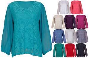 Womens-Chiffon-Sheer-Lace-Full-Sleeve-Ladies-Lined-Floral-Blouse-Top-Plus-Size