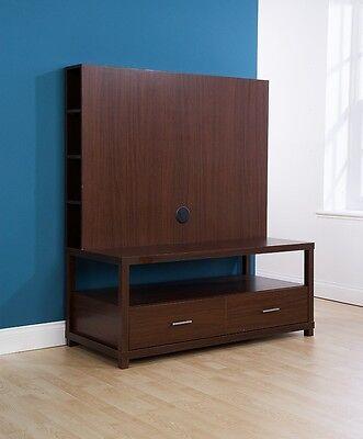 TV Cabinet Walnut Television Unit Large Dark Wood Cabinet 2 Drawer Chicago