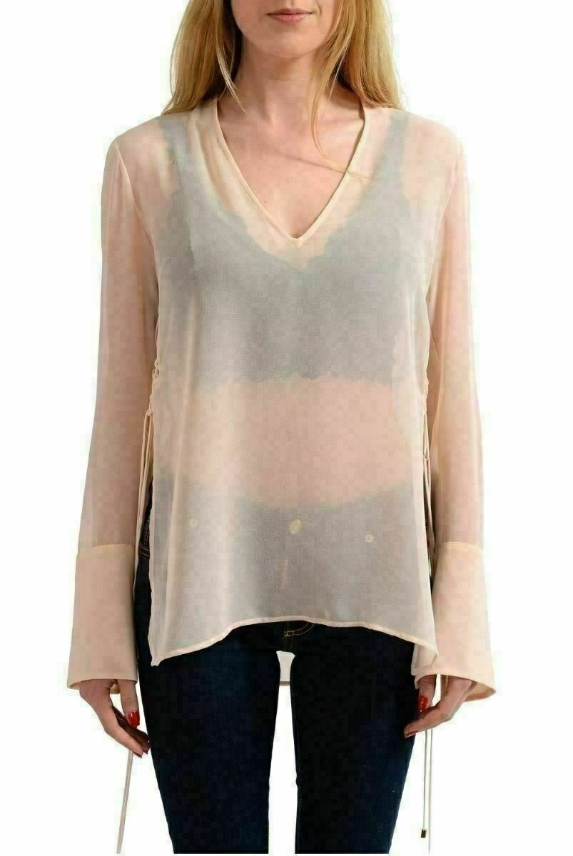 Just Cavalli Light Pink Long Sleeves See Through Blouse Top US S IT 40