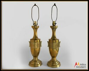 Vintage-60s-Mid-Century-Pair-of-Gold-Brass-Asian-Chinese-Regency-Urn-Lamps