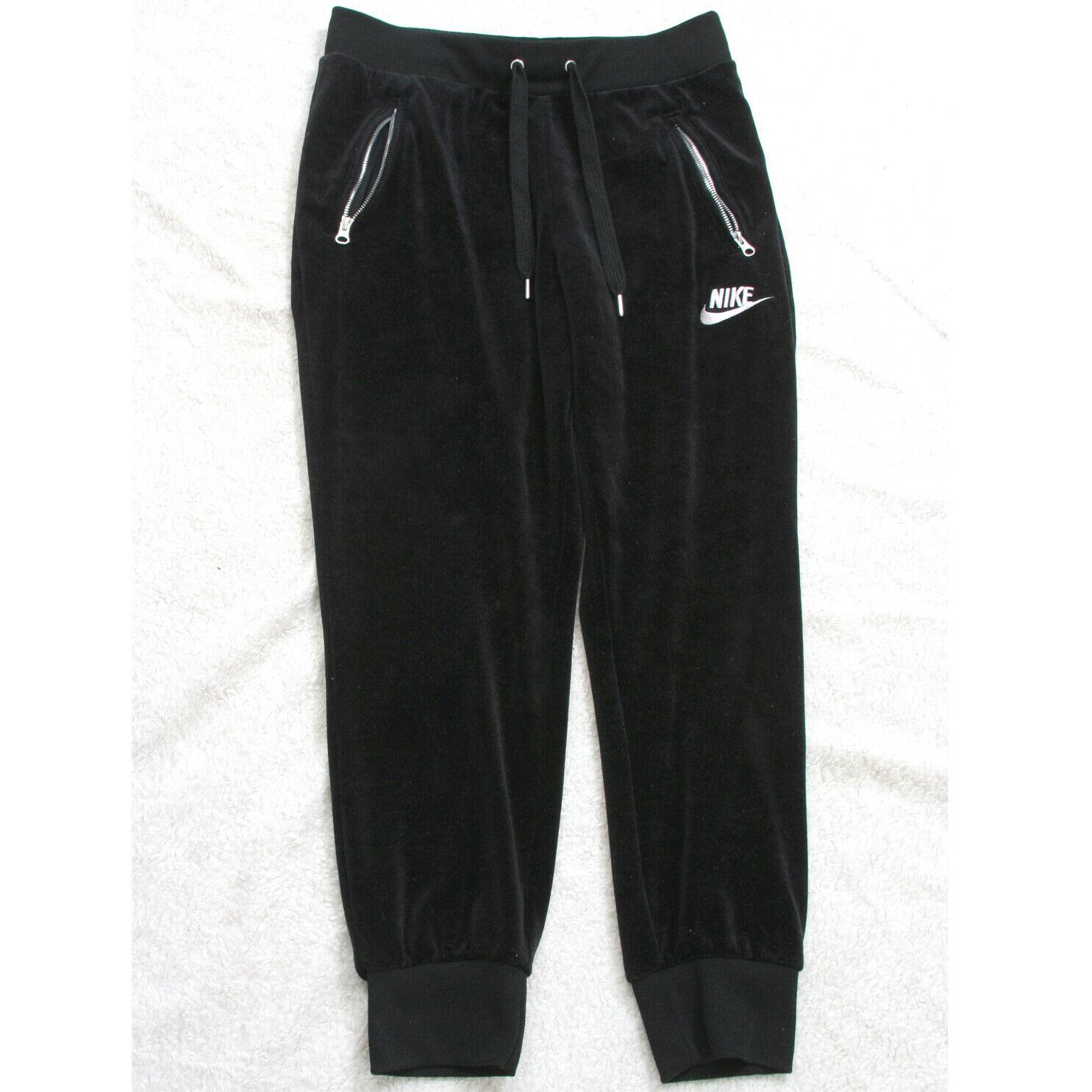 Nike Black Athletic Pants Polyester Spandex Medium Solid Woman's 30