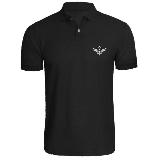 Mens The Legend Of Zelda Triumphant Triforce Embroidered Polo Shirts Men Shirt